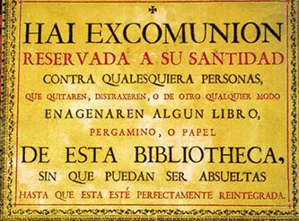 Spagna, Salamanca, biblioteca università, clero comunica che scomunica chi frega i libri ...