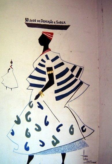 Una elegante quanto modesta opera sulla parete di un semplice ristorante di Bahia (terra da felicidade...)