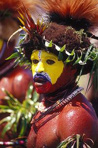 Un 'wigman' Huli in PNG Papua Nuova Guinea....