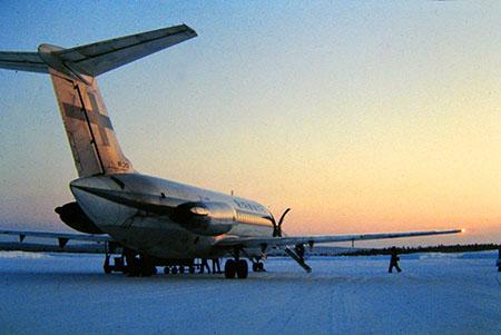 Oulo, Finlandia, Circolo Polare Artico, aeroporto d'inverno...