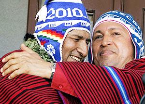 Evo Morales (Lìder Maximo boliviano) e Hugo (con il Chuyu....)